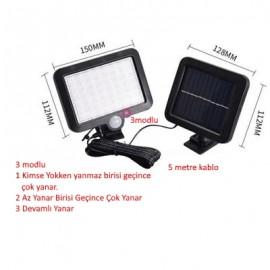 56 Led Solar Güneş Enerjili Bahçe Aydınlatma 3 Modlu 5 Metre Kablolu