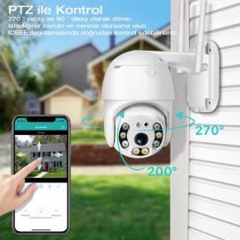 Gece Görüşlü Kablosuz iç + dış mekan ip kamera Hareket Takipli PTZ Güvenlik Kamerası