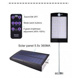 Solar Güneş Enerjili Aydınlatma 48 LED Uzaktan Kumandalı Uzatmalı Sensörlü Lamba