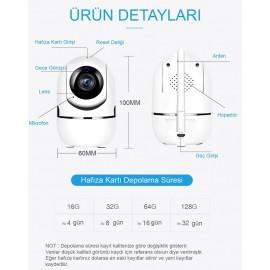 Canlı Sesli Bebek İzleme ve Güvenlik Kamerası Wifi İp Kamera 1080P HD Gece Görüşlü